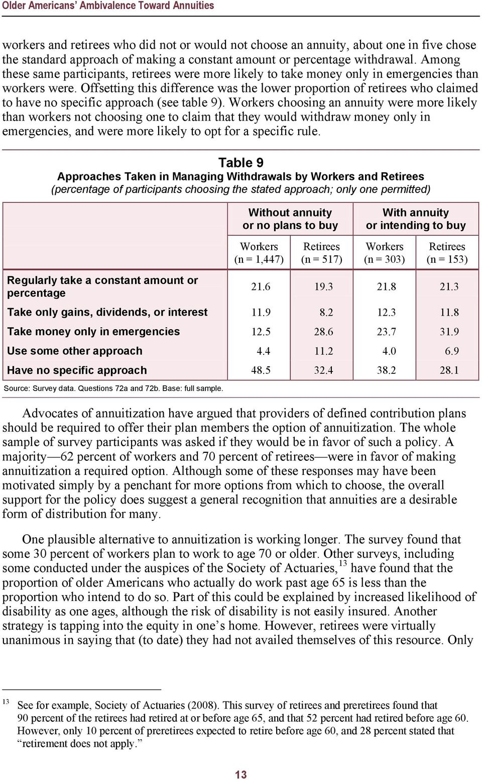 Offsetting this difference was the lower proportion of retirees who claimed to have no specific approach (see table 9).