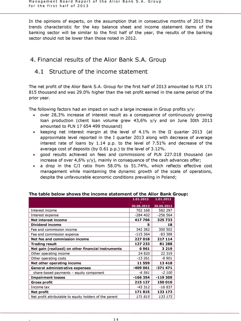 1 Structure of the income statement The net profit of the Alior Bank S.A. Group for the first half of 2013 amounted to PLN 171 815 thousand and was 29.