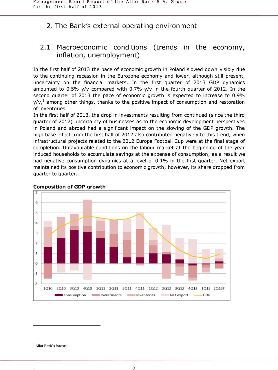 Eurozone economy and lower, although still present, uncertainty on the financial markets. In the first quarter of 2013 GDP dynamics amounted to 0.5% y/y compared with 0.