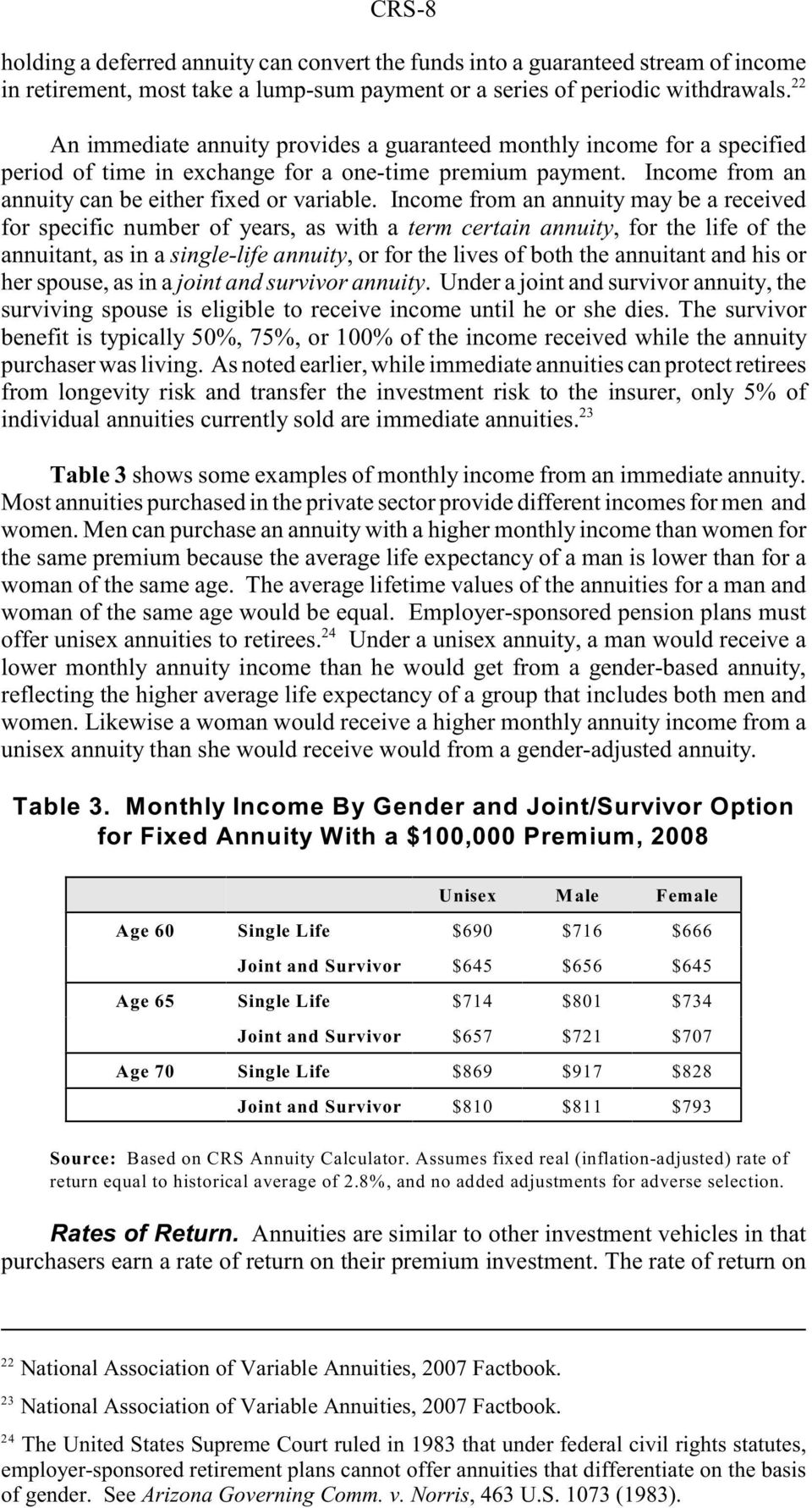 Income from an annuity may be a received for specific number of years, as with a term certain annuity, for the life of the annuitant, as in a single-life annuity, or for the lives of both the