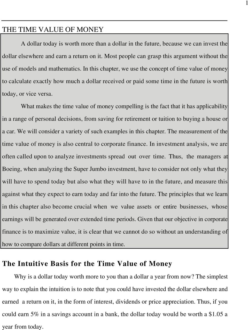 In this chapter, we use the concept of time value of money to calculate exactly how much a dollar received or paid some time in the future is worth today, or vice versa.