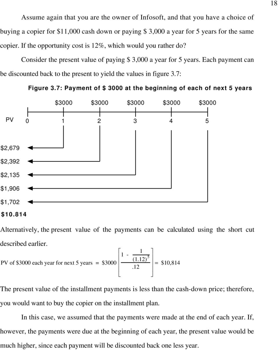 Each payment can be discounted back to the present to yield the values in figure 3.7: Figure 3.