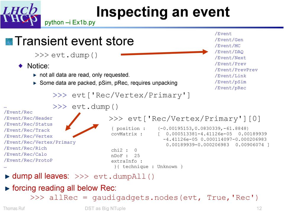 Inspecting an event Some data are packed, psim, prec, requires unpacking >>> evt['rec/vertex/primary'] >>> evt.dump() dump all leaves: >>> evt.