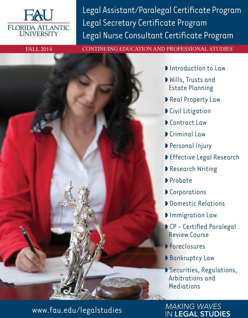 Law Personal Injury Effective Legal Research Research Writing Probate Corporations Domestic Relations Immigration Law CP - Certified Paralegal
