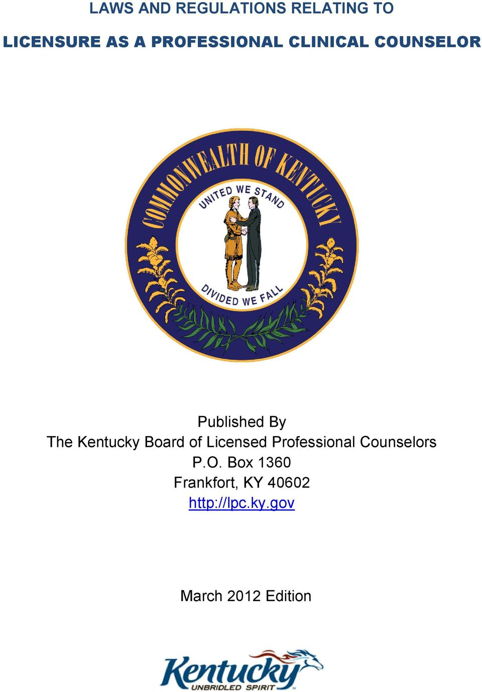 Kentucky Board of Licensed Professional Counselors P.O.