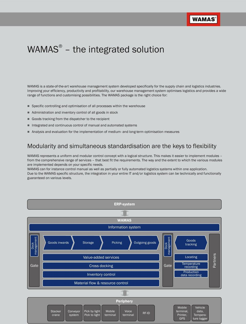 The WAMAS package is the right choice for: Specific controlling and optimisation of all processes within the warehouse Administration and inventory control of all goods in stock Goods tracking from