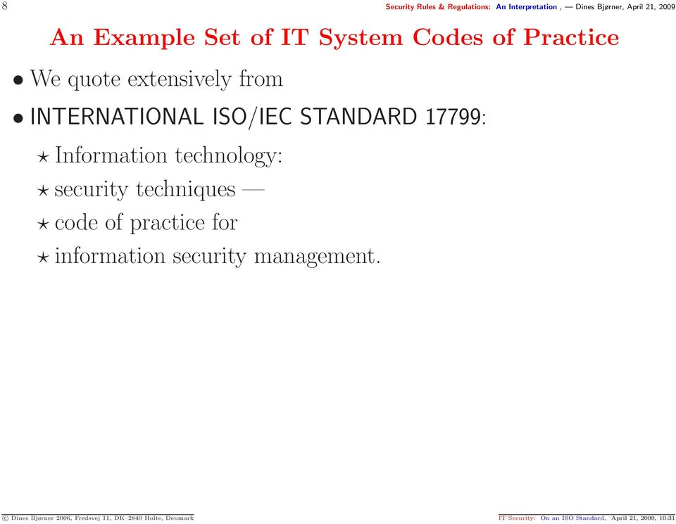 Information technology: security techniques code of practice for information security management.
