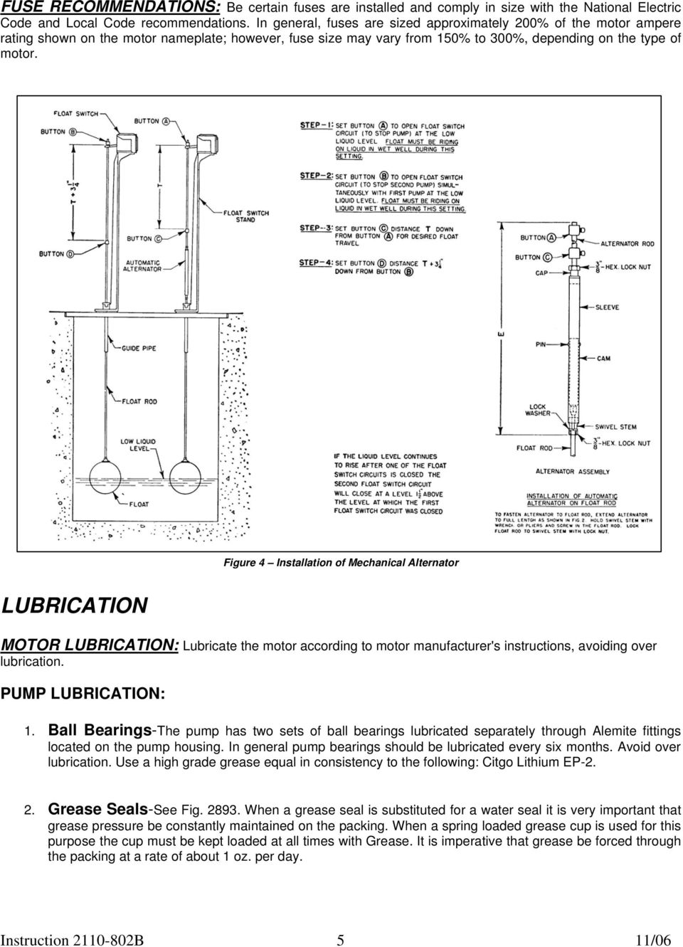 Figure 4 Installation of Mechanical Alternator LUBRICATION MOTOR LUBRICATION: Lubricate the motor according to motor manufacturer's instructions, avoiding over lubrication. PUMP LUBRICATION: 1.