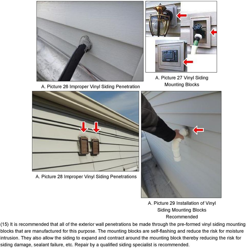 vinyl siding mounting blocks that are manufactured for this purpose. The mounting blocks are self-flashing and reduce the risk for moisture intrusion.