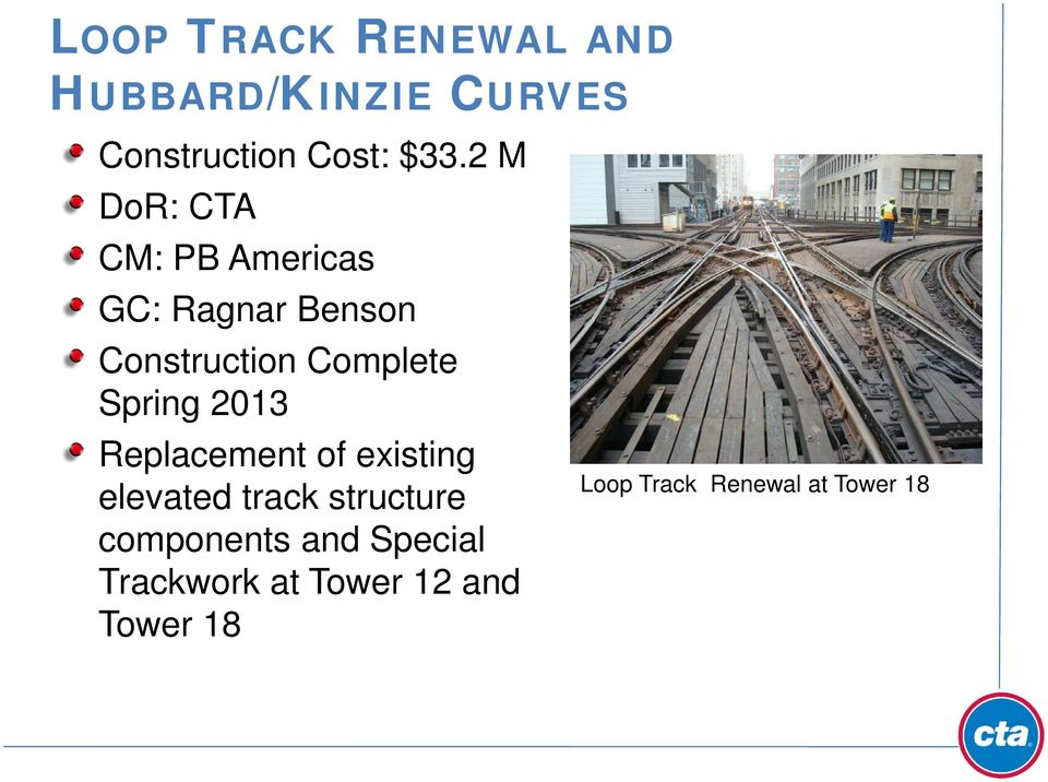 Spring 2013 Replacement of existing elevated track structure components