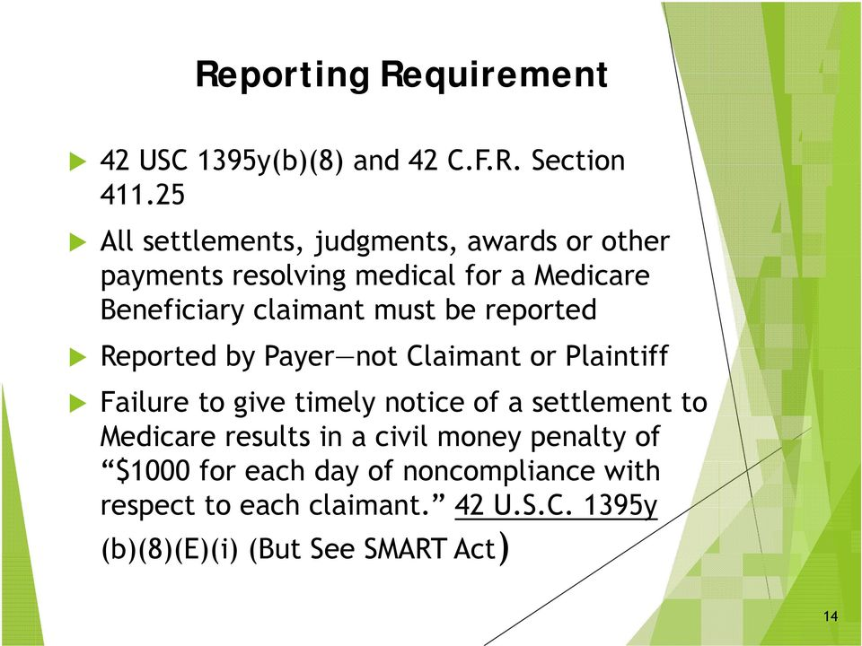 must be reported Reported by Payer not Claimant or Plaintiff Failure to give timely notice of a settlement to