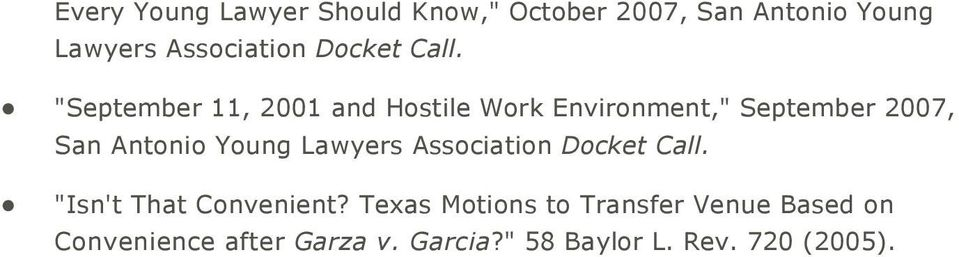 """September 11, 2001 and Hostile Work Environment,"" September 2007, San Antonio Young"