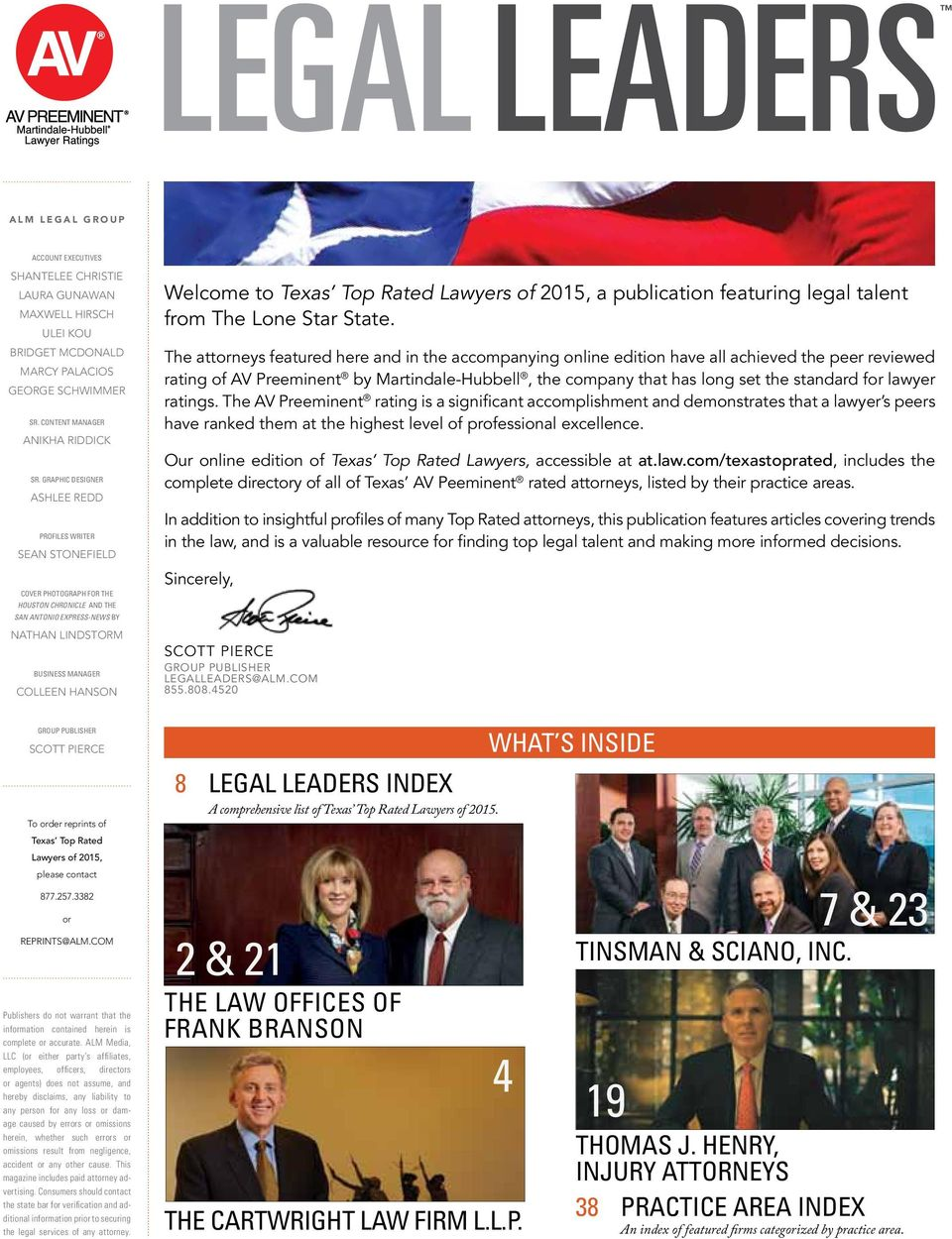 Texas Top Rated yers of 2015, a publication featuring legal talent from The Lone Star State.