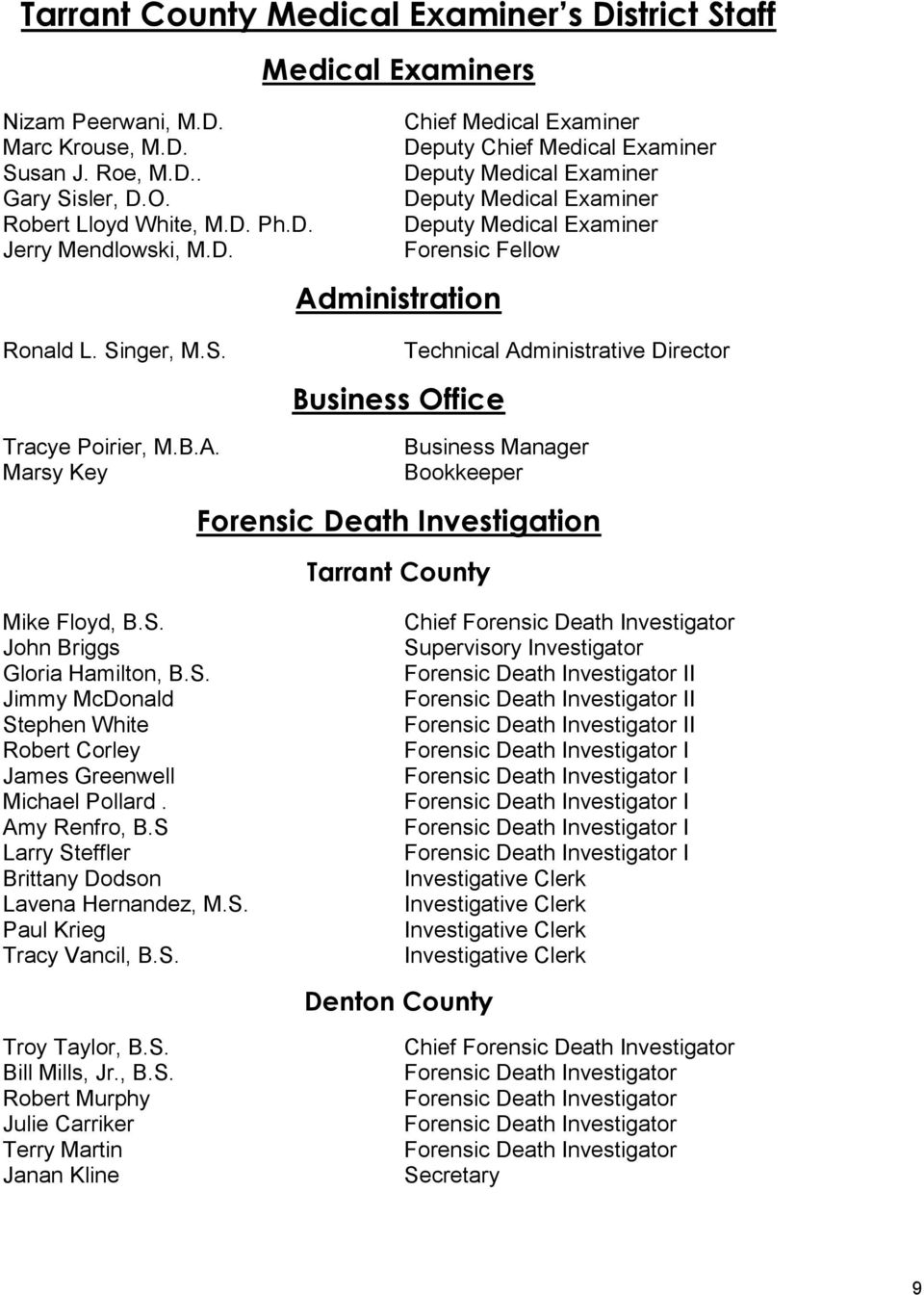 nger, M.S. Technical Administrative Director Business Office Tracye Poirier, M.B.A. Business Manager Marsy Key Bookkeeper Forensic Death Investigation Tarrant County Mike Floyd, B.S. John Briggs Gloria Hamilton, B.