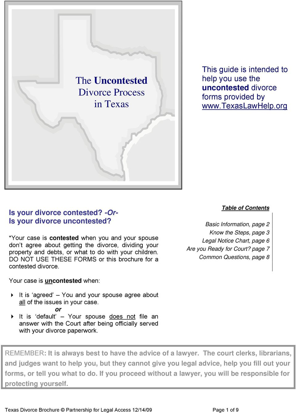 The uncontested divorce process in texas pdf do not use these forms or this brochure for a contested divorce table of contents solutioingenieria Gallery