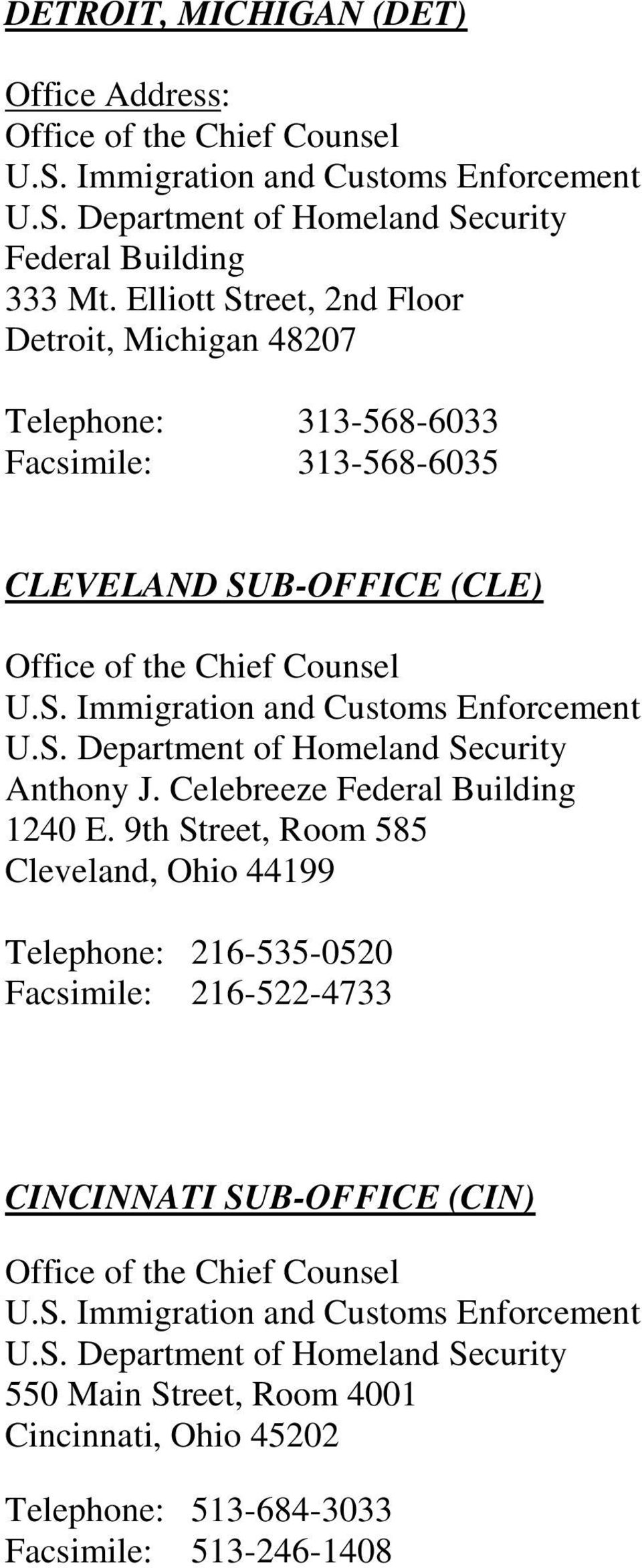 SUB-OFFICE (CLE) Anthony J. Celebreeze Federal Building 1240 E.