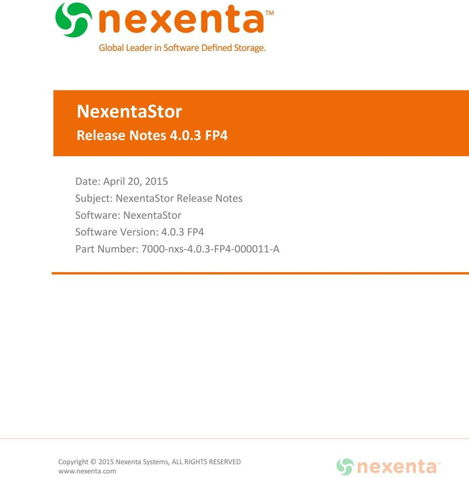 NexentaStor Release Notes Software: