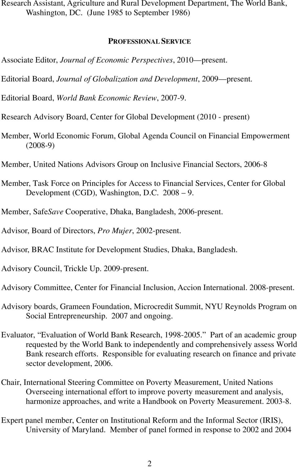 Editorial Board, World Bank Economic Review, 2007-9.
