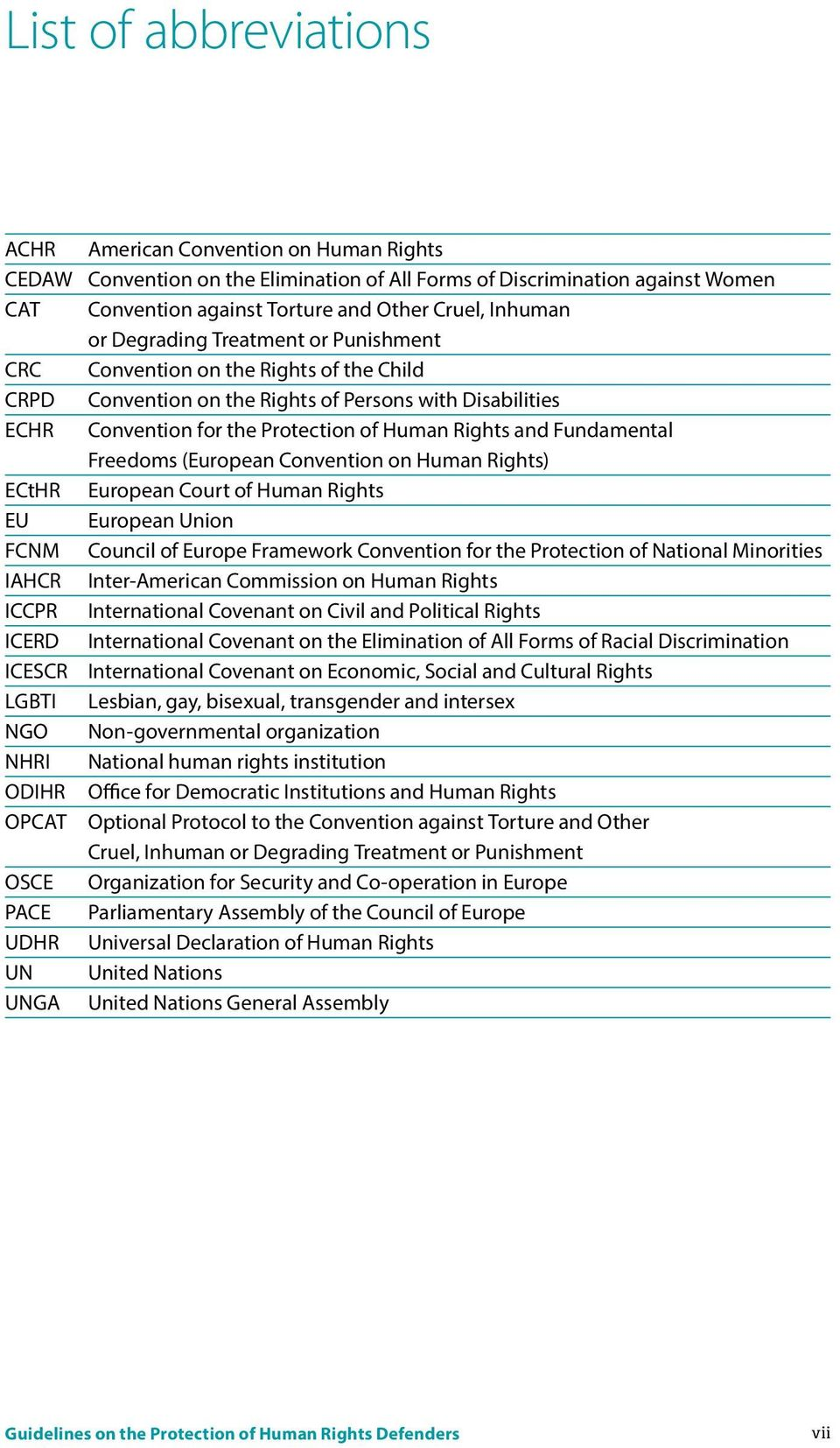 Fundamental Freedoms (European Convention on Human Rights) ECtHR European Court of Human Rights EU European Union FCNM Council of Europe Framework Convention for the Protection of National Minorities