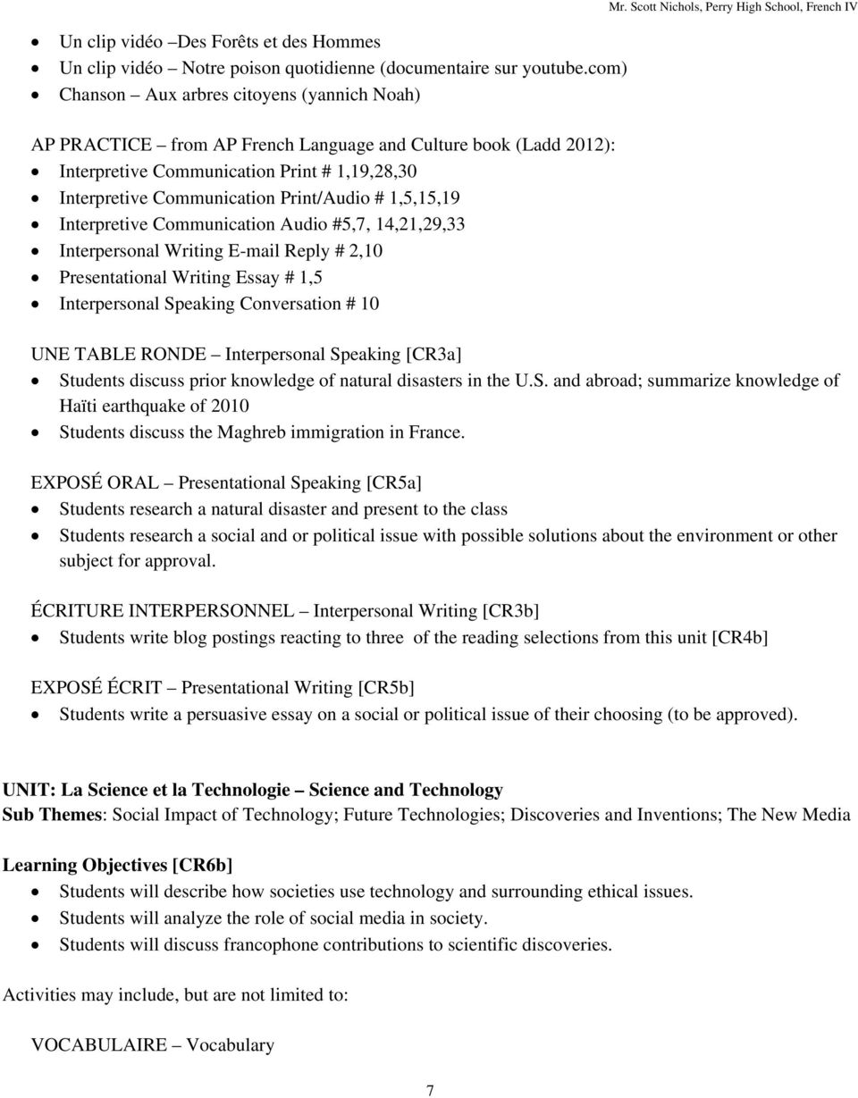 AP French Language and Culture Syllabus - PDF