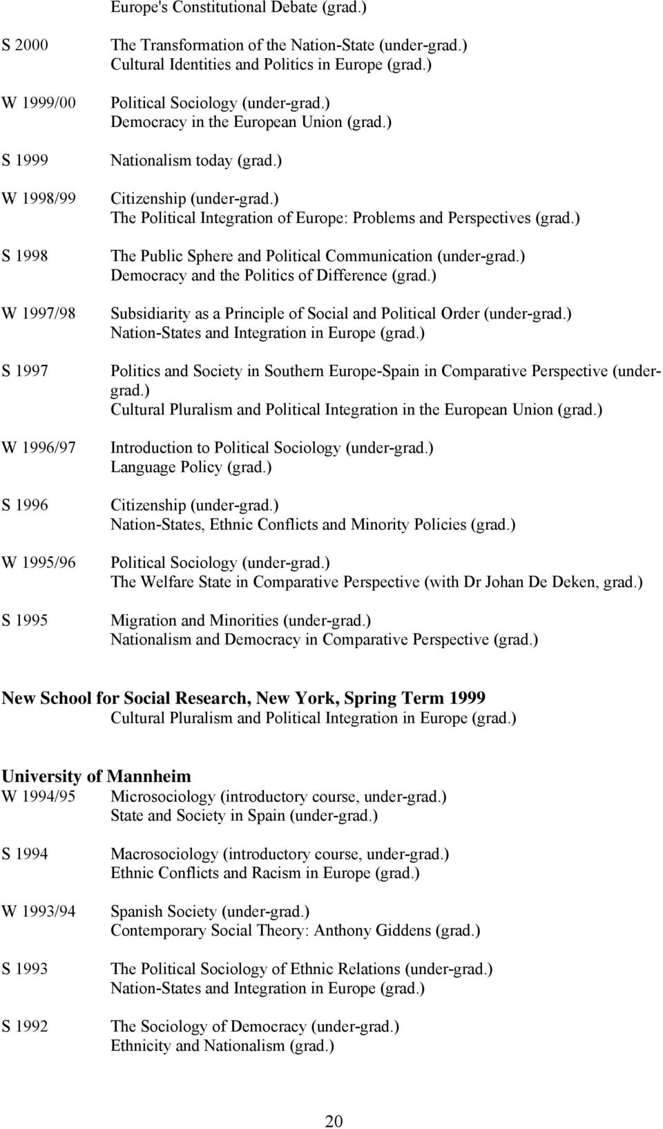 ) The Political Integration of Europe: Problems and Perspectives (grad.) The Public Sphere and Political Communication (under-grad.) Democracy and the Politics of Difference (grad.
