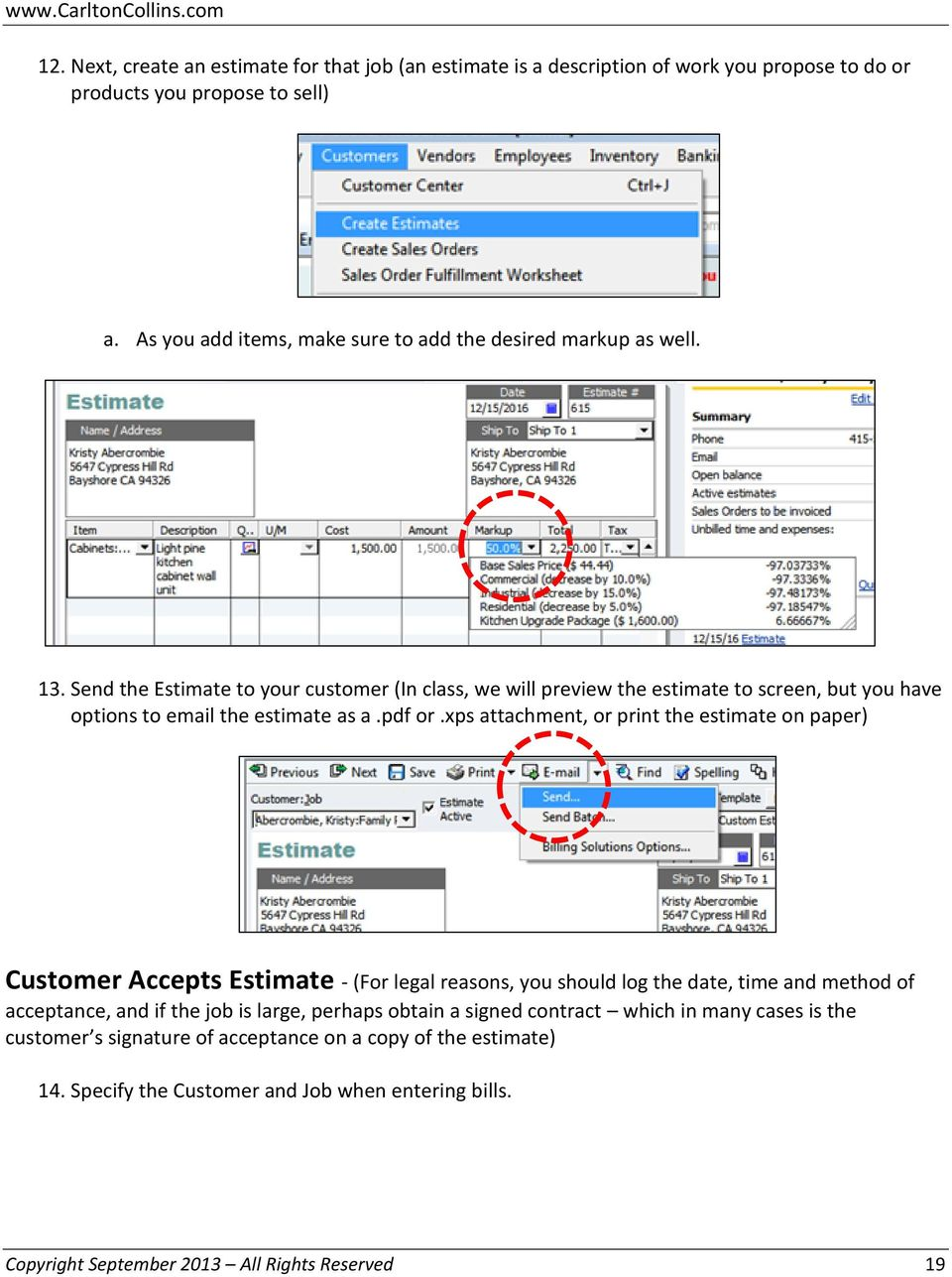 quickbooks job costing pdf send the estimate to your customer in class we will preview the estimate to