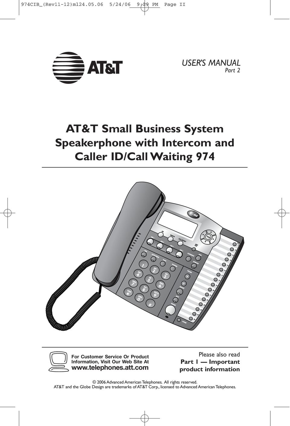 ID/Call Waiting 974 For Customer Service Or Product Information, Visit Our Web Site At www.telephones.att.