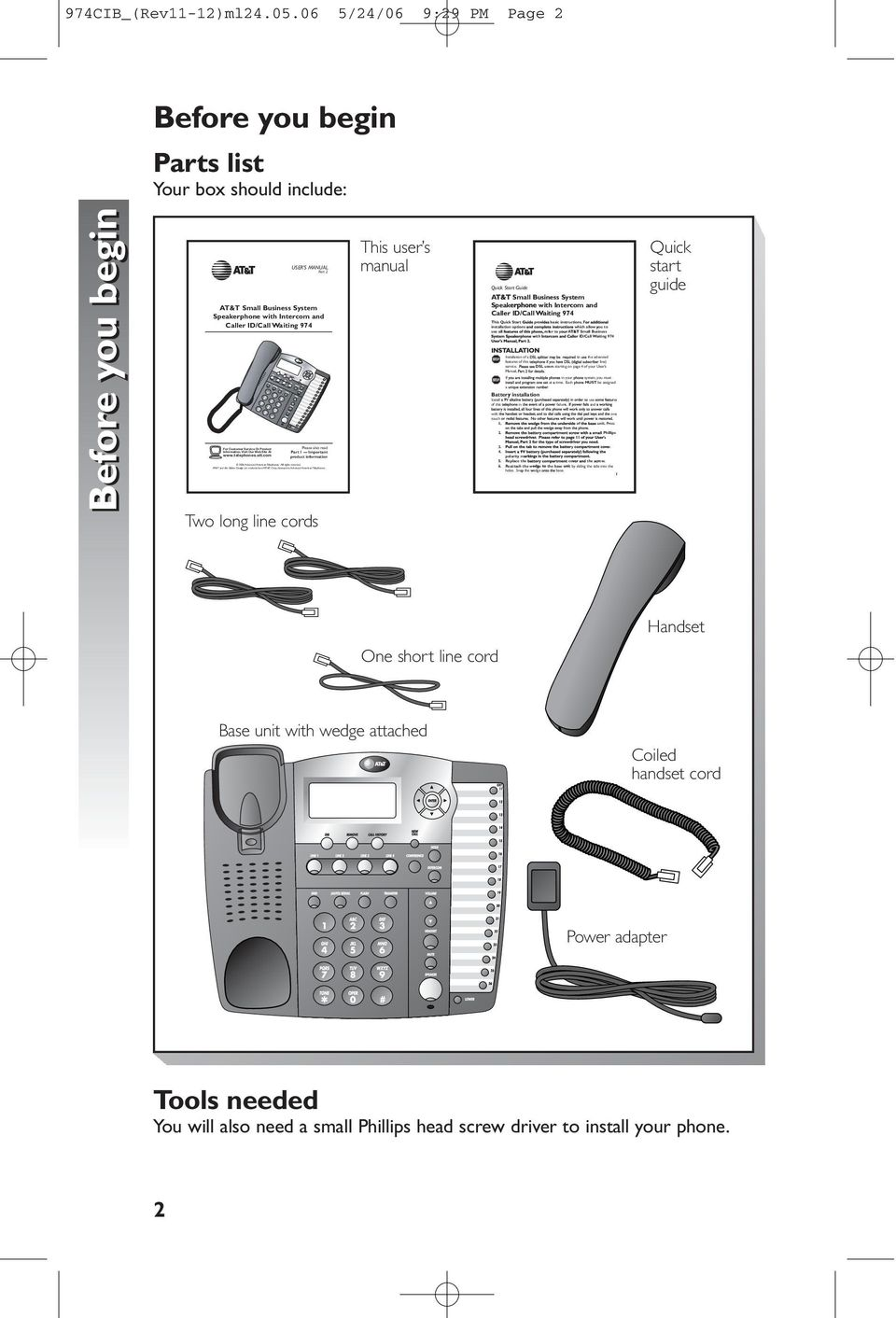 Intercom and Caller ID/Call Waiting 974 Information, Visit Our Web Site At www.telephones.att.com Please also read Part 1 Important product information 2006 Advanced American Telephones.