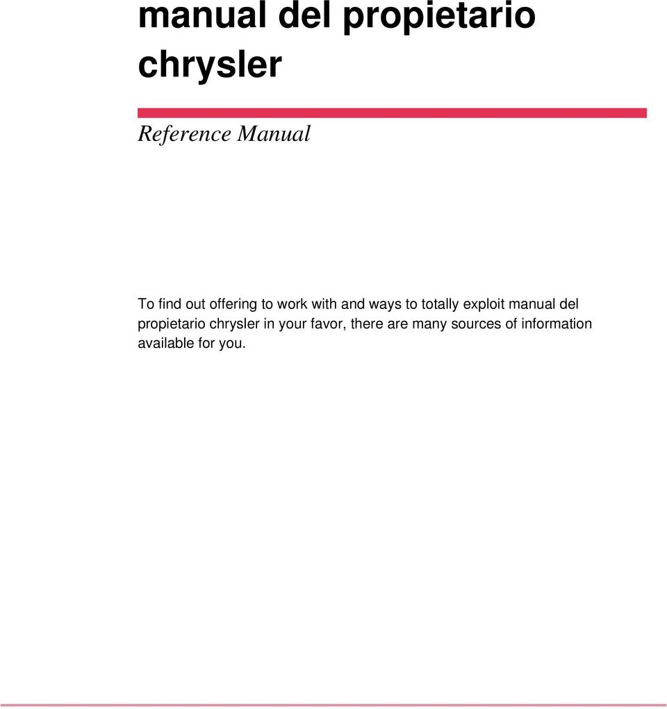 exploit manual del propietario chrysler in your