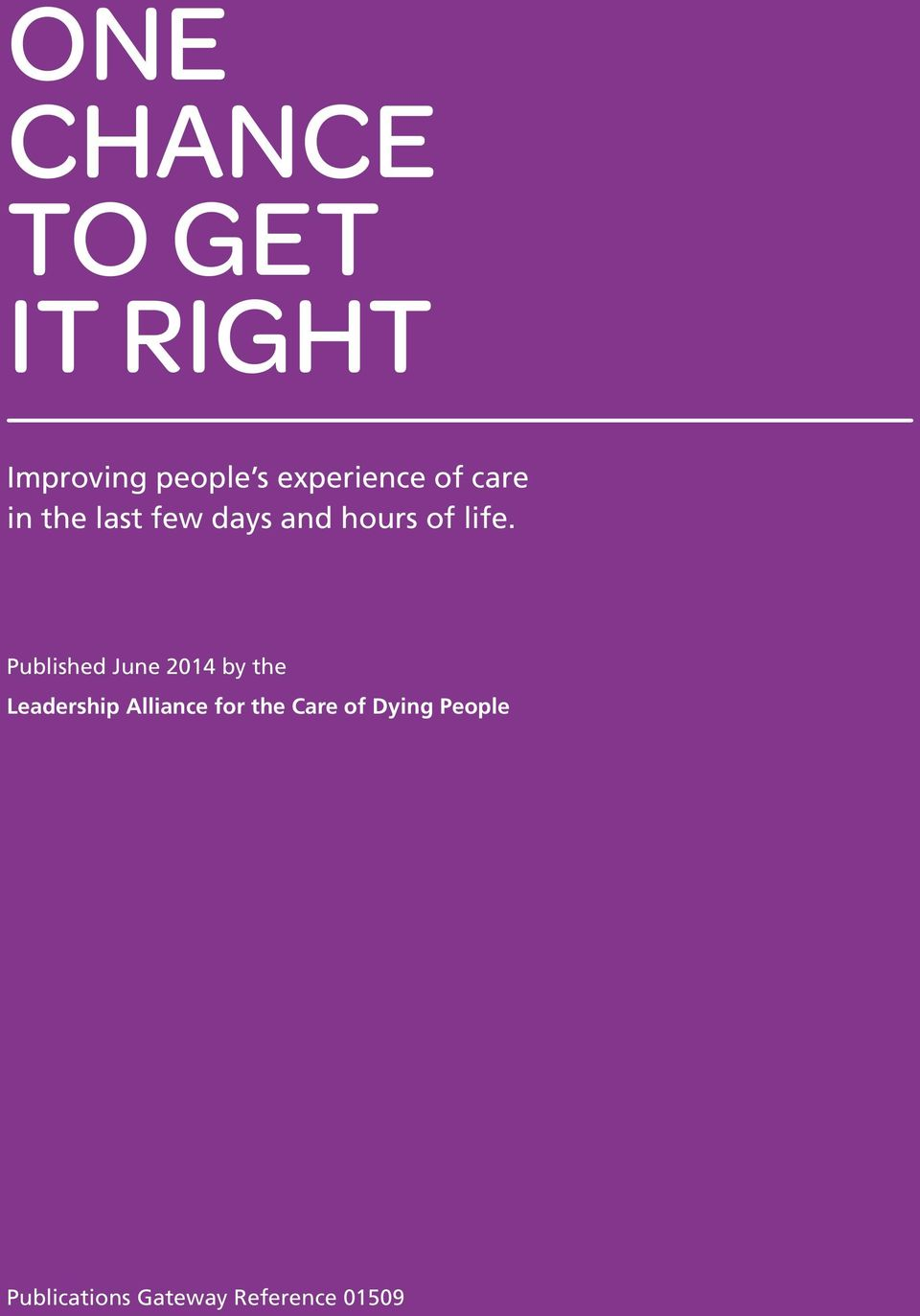 life. Published June 2014 by the Leadership Alliance