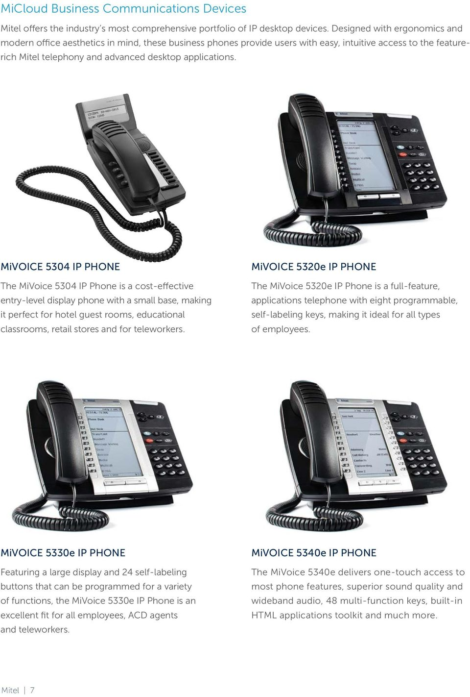 MiVOICE 5304 IP PHONE The MiVoice 5304 IP Phone is a cost-effective entry-level display phone with a small base, making it perfect for hotel guest rooms, educational classrooms, retail stores and for