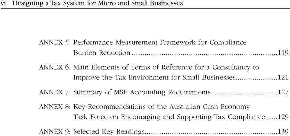..119 ANNEX 6: Main Elements of Terms of Reference for a Consultancy to Improve the Tax Environment for Small