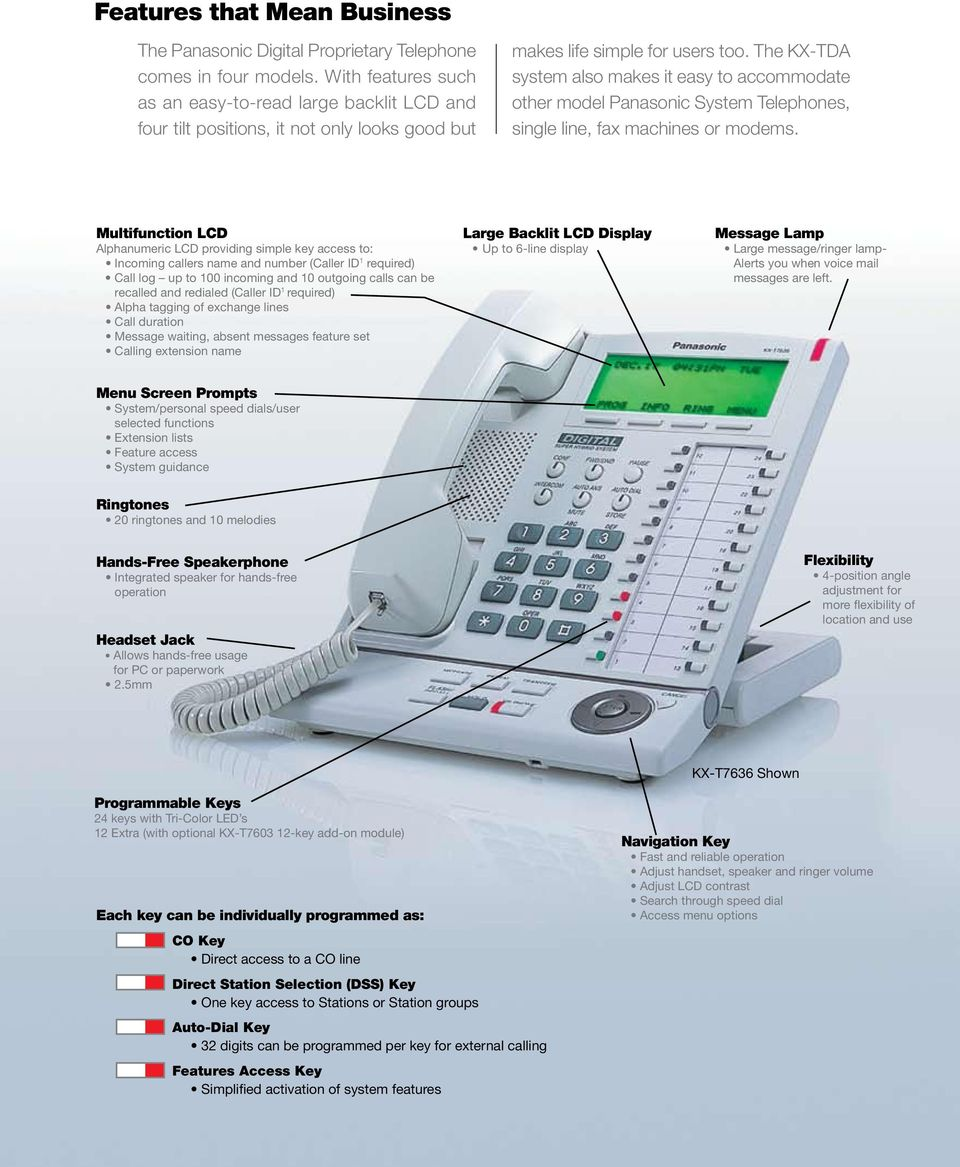 The KX-TDA system also makes it easy to accommodate other model Panasonic System Telephones, single line, fax machines or modems.