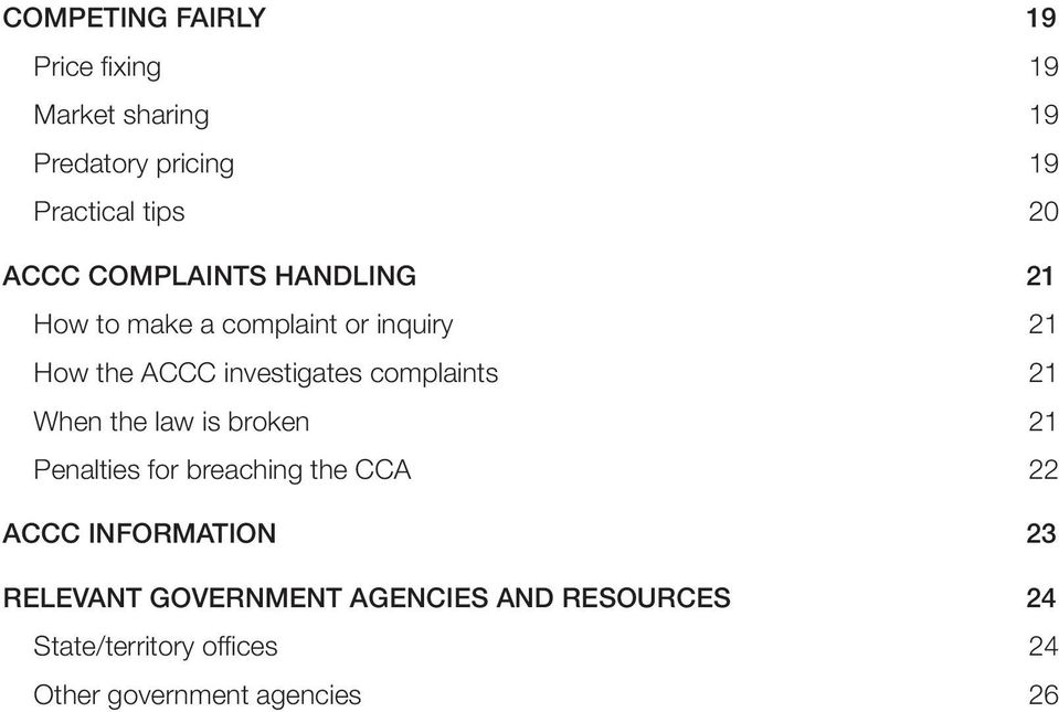 complaints 21 When the law is broken 21 Penalties for breaching the CCA 22 ACCC INFORMATION 23