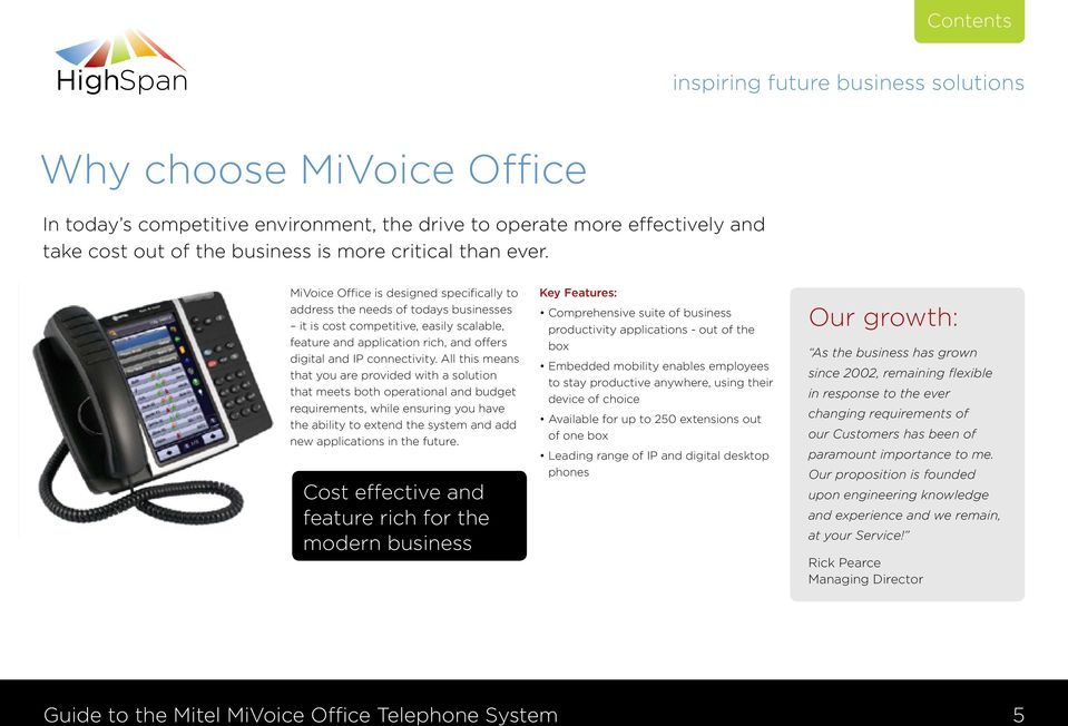 Why choose the Mitel MiVoice Office Telephone System from