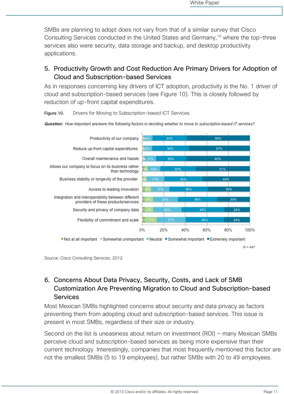 Productivity Growth and Cost Reduction Are Primary Drivers for Adoption of Cloud and Subscription-based Services As in responses concerning key drivers of ICT adoption, productivity is the No.