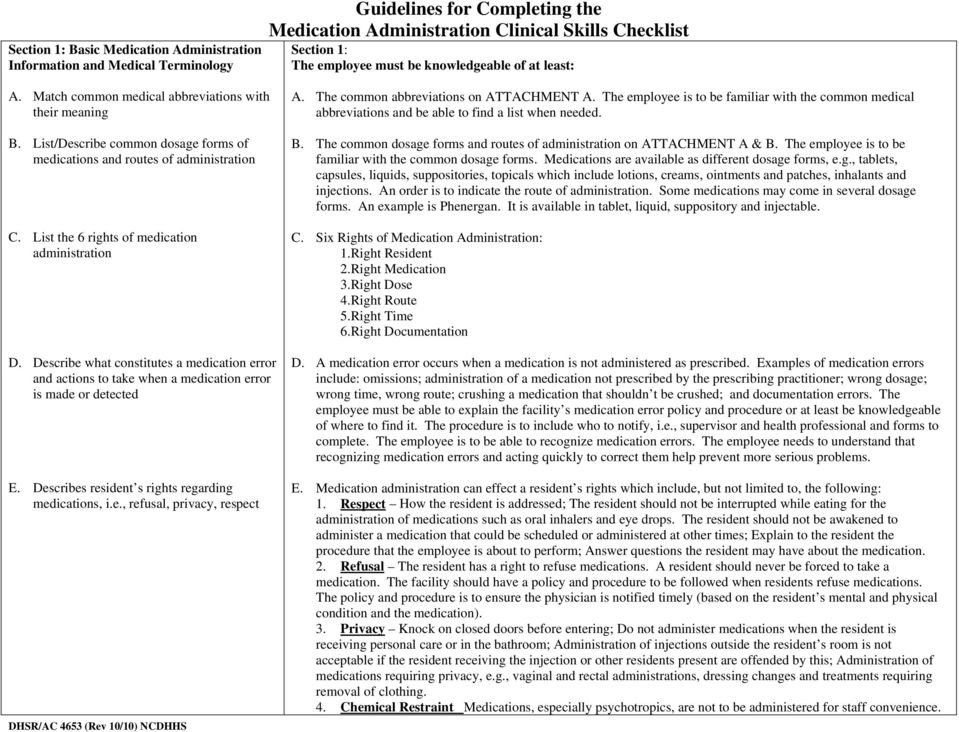 Guidelines for Completing the Medication Administration