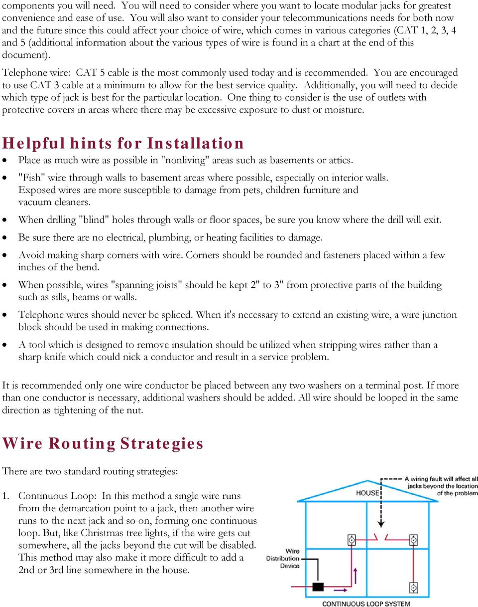 (additional information about the various types of wire is found in a chart at the end of this document). Telephone wire: CAT 5 cable is the most commonly used today and is recommended.
