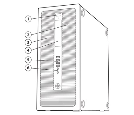 Overview HP EliteDesk 800 G1 Tower Business PC 1. Power button and PC status LED 2. Slim drive bay supporting an optical disk drive (located behind removable bezel) 3. 5.
