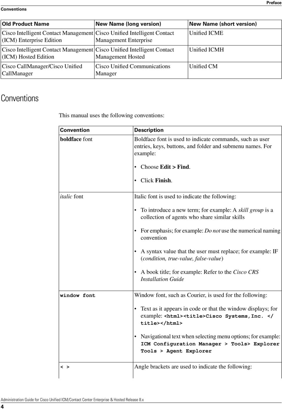 Unified ICME Unified ICMH Unified CM Conventions This manual uses the following conventions: Convention boldface font Description Boldface font is used to indicate commands, such as user entries,