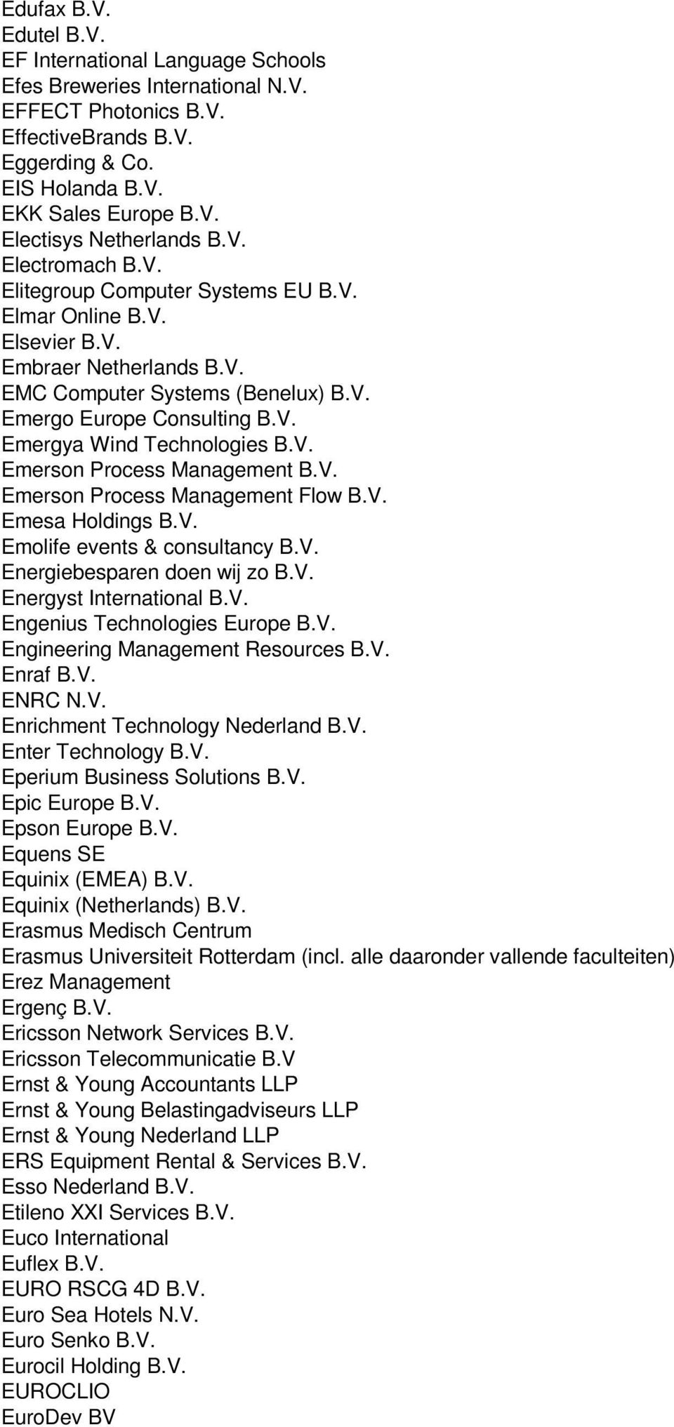 V. Emerson Process Management B.V. Emerson Process Management Flow B.V. Emesa Holdings B.V. Emolife events & consultancy B.V. Energiebesparen doen wij zo B.V. Energyst International B.V. Engenius Technologies Europe B.