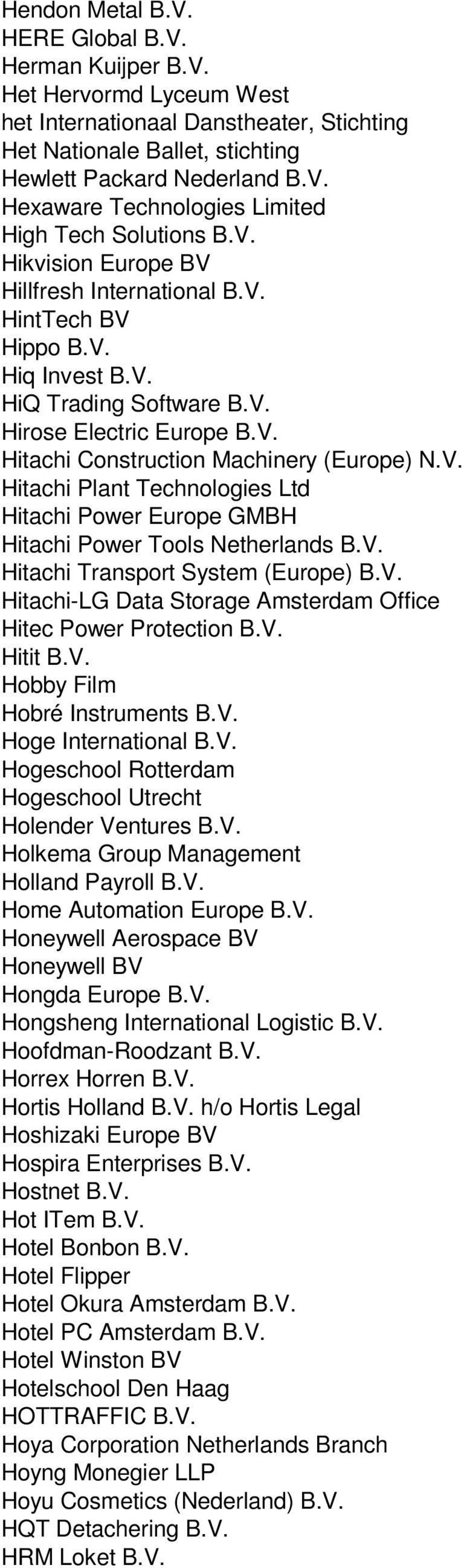 V. Hitachi Transport System (Europe) B.V. Hitachi-LG Data Storage Amsterdam Office Hitec Power Protection B.V. Hitit B.V. Hobby Film Hobré Instruments B.V. Hoge International B.V. Hogeschool Rotterdam Hogeschool Utrecht Holender Ventures B.