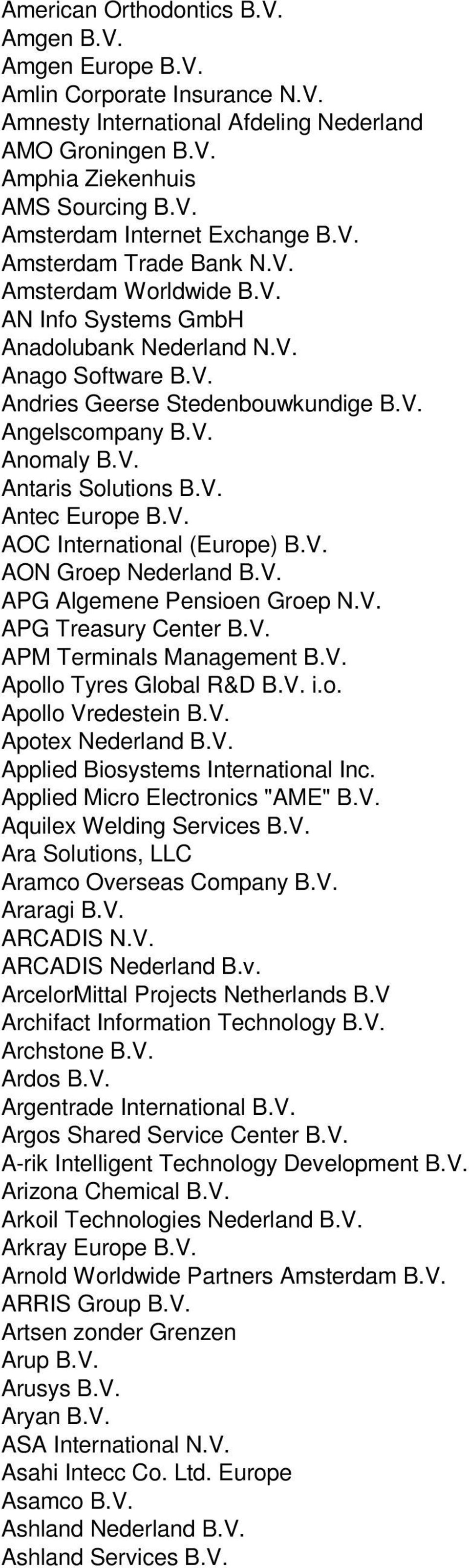 V. Antec Europe B.V. AOC International (Europe) B.V. AON Groep Nederland B.V. APG Algemene Pensioen Groep N.V. APG Treasury Center B.V. APM Terminals Management B.V. Apollo Tyres Global R&D B.V. i.o. Apollo Vredestein B.