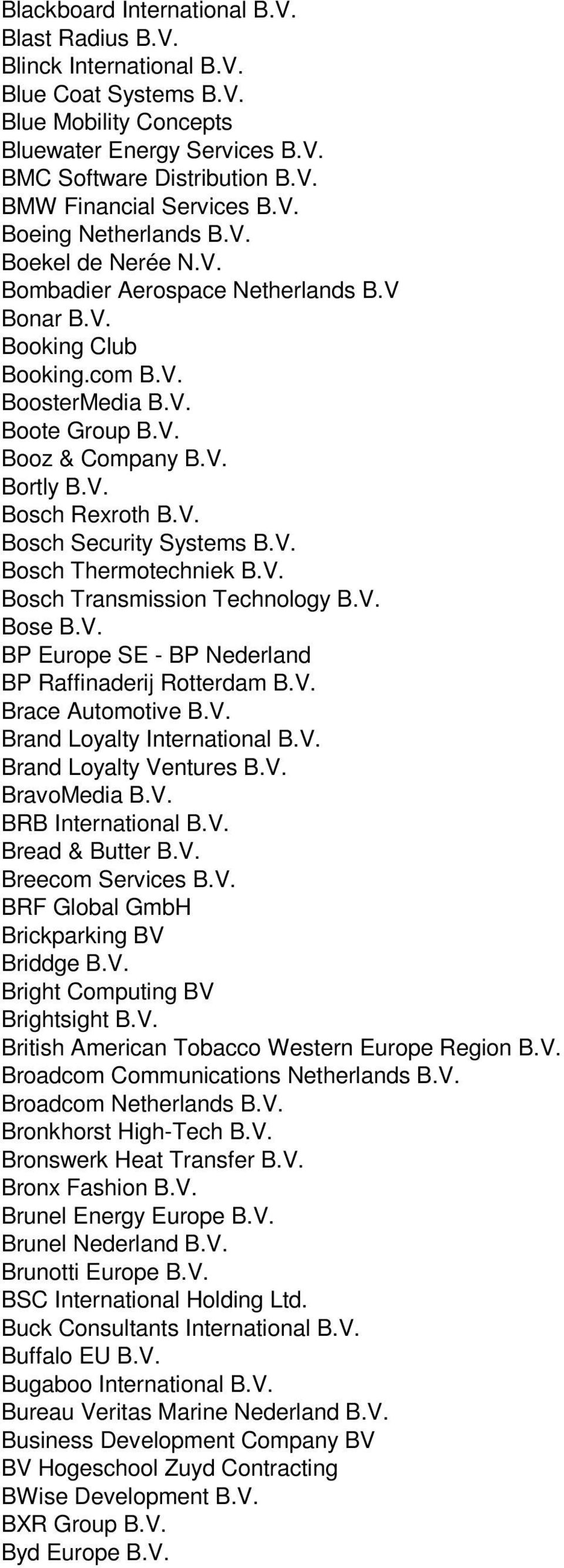 V. Bosch Security Systems B.V. Bosch Thermotechniek B.V. Bosch Transmission Technology B.V. Bose B.V. BP Europe SE - BP Nederland BP Raffinaderij Rotterdam B.V. Brace Automotive B.V. Brand Loyalty International B.