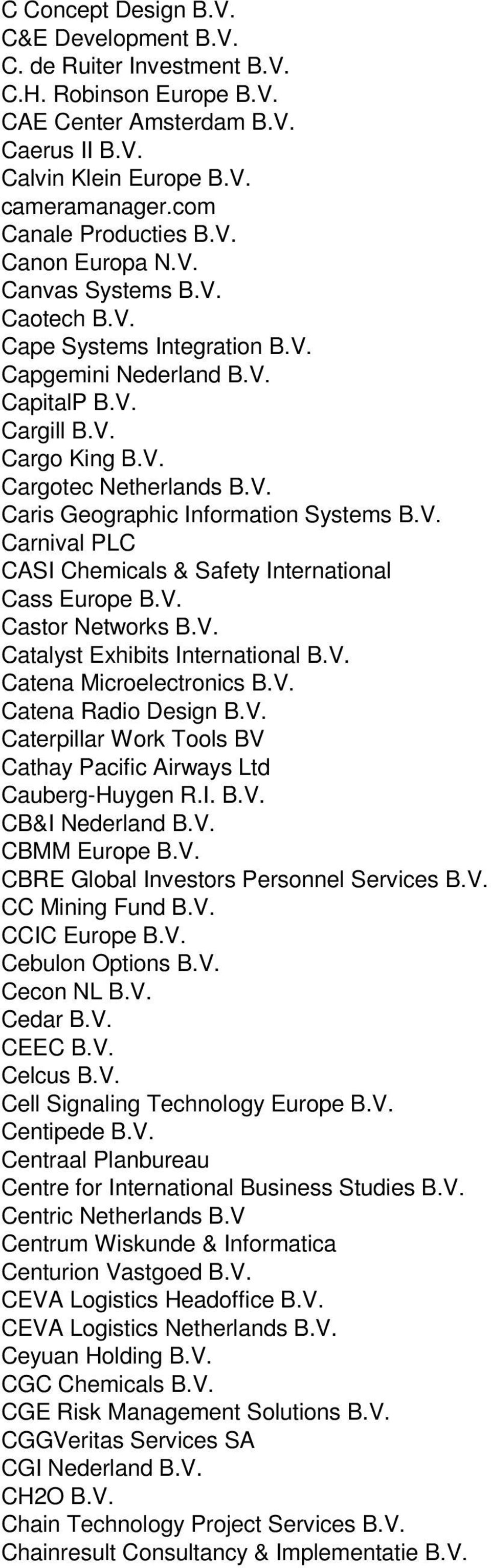 V. Caris Geographic Information Systems B.V. Carnival PLC CASI Chemicals & Safety International Cass Europe B.V. Castor Networks B.V. Catalyst Exhibits International B.V. Catena Microelectronics B.V. Catena Radio Design B.