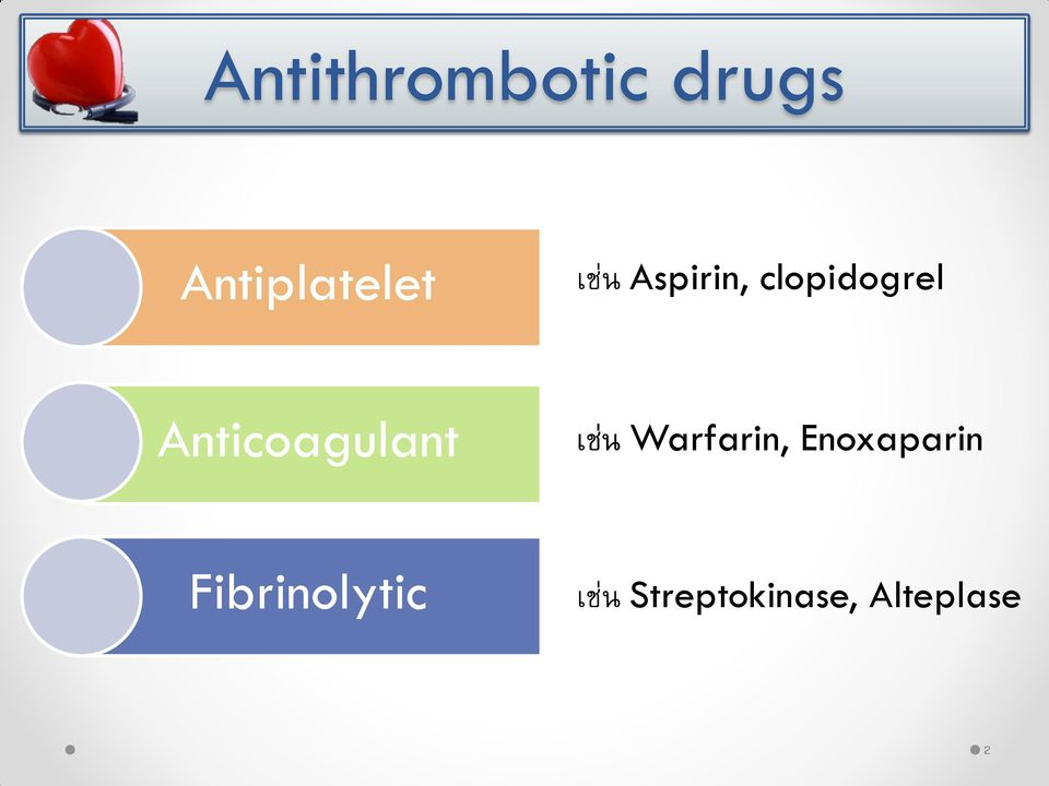 Anticoagulant เช น Warfarin,