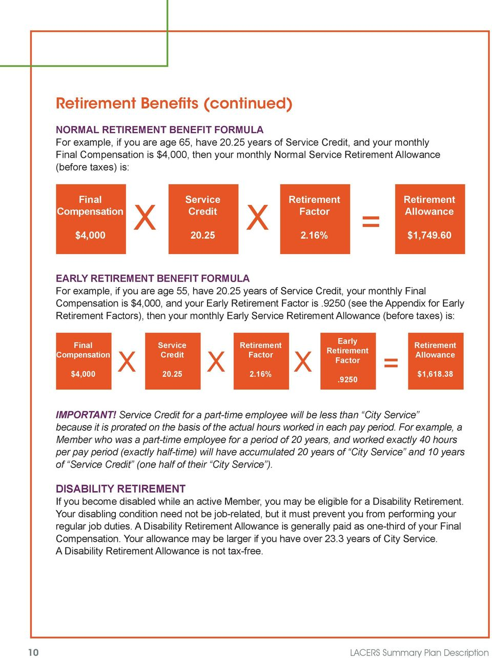 25 Retirement Factor X X = 2.16% Retirement Allowance $1,749.60 EARLY RETIREMENT BENEFIT FORMULA For example, if you are age 55, have 20.