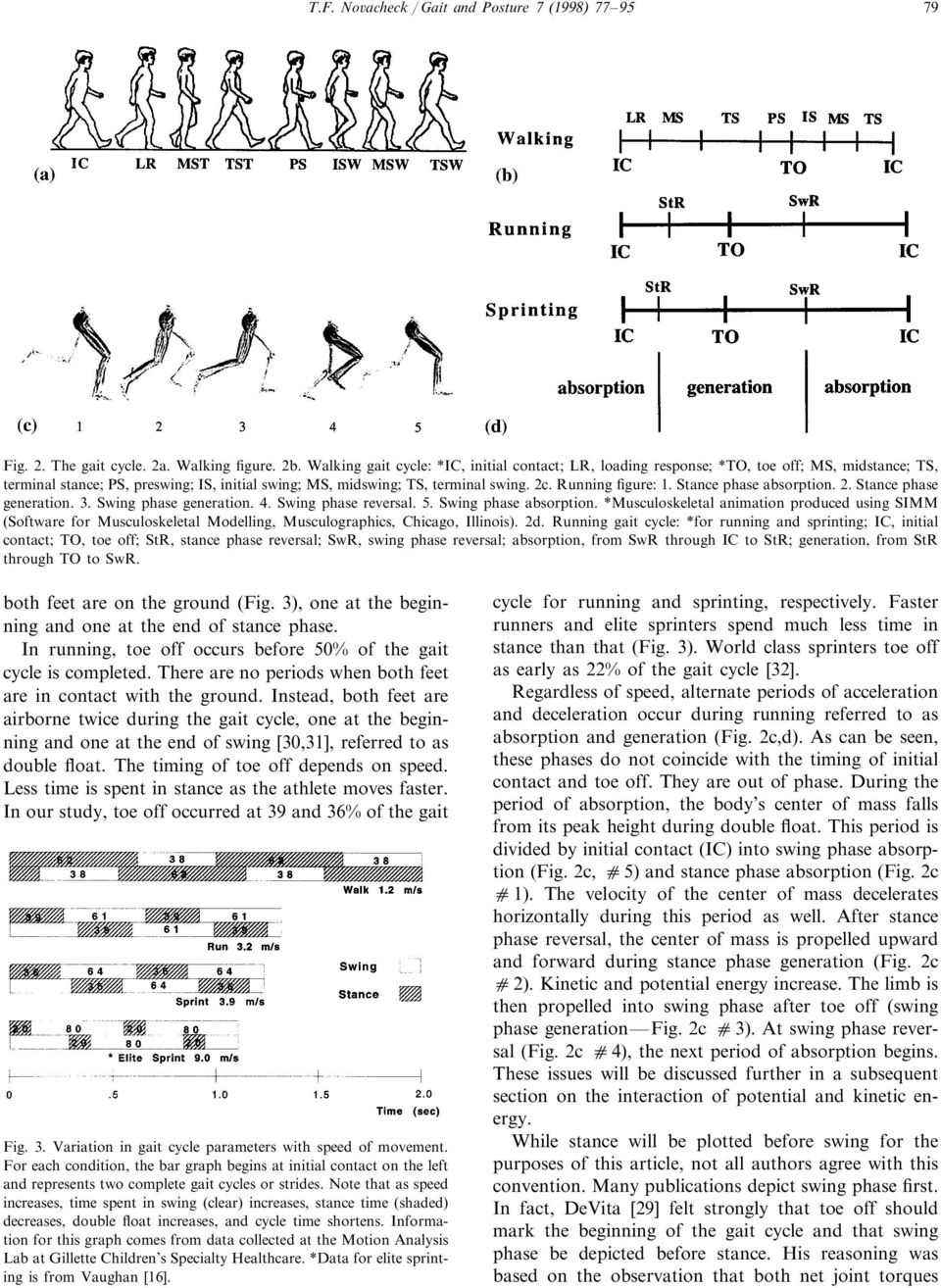 Running figure: 1. Stance phase absorption. 2. Stance phase generation. 3. Swing phase generation. 4. Swing phase reversal. 5. Swing phase absorption.