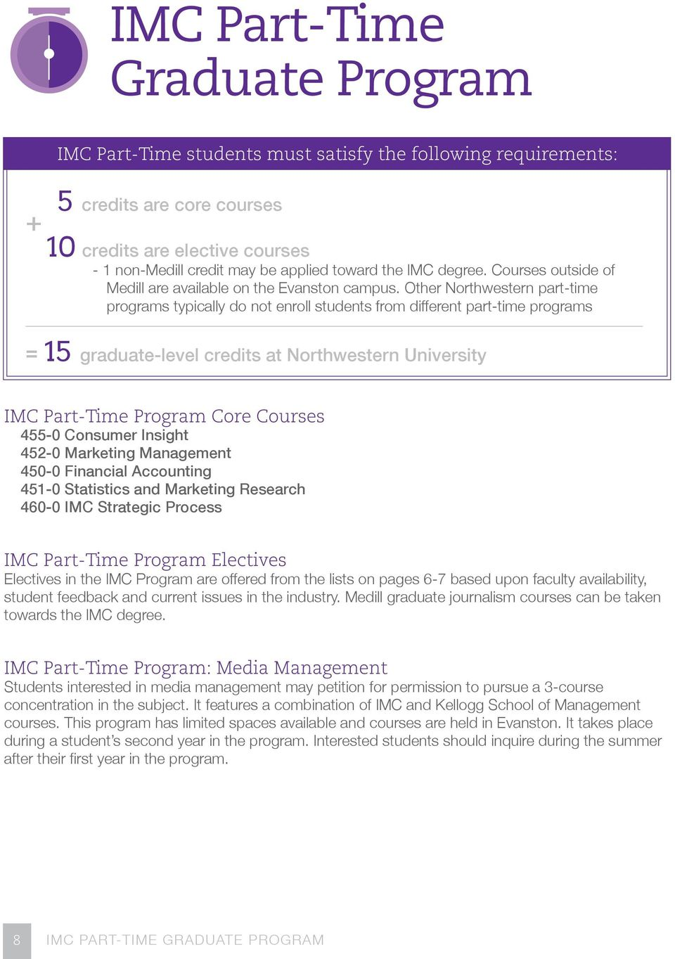 Other Northwestern part-time programs typically do not enroll students from different part-time programs = 15 graduate-level credits at Northwestern University IMC Part-Time Program Core Courses