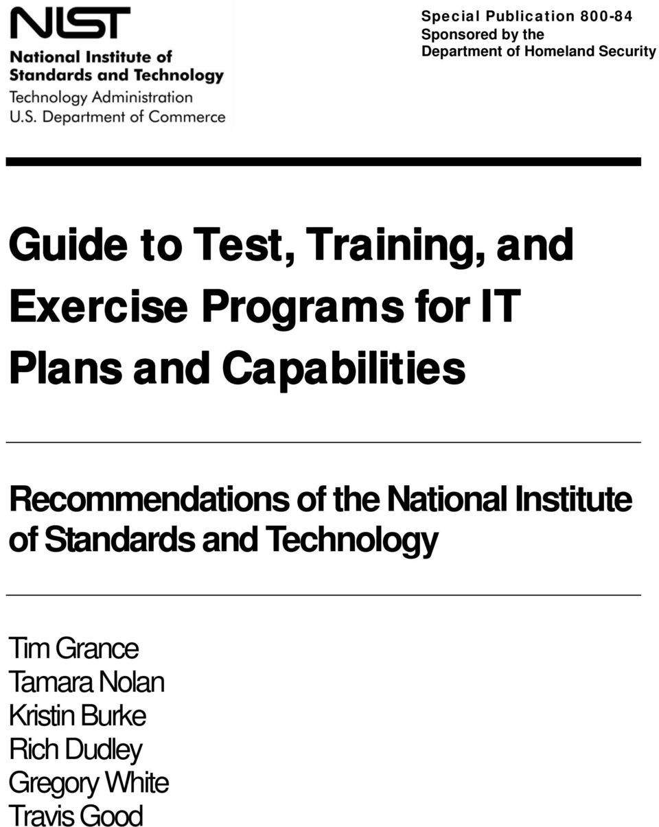Capabilities Recommendations of the National Institute of Standards and